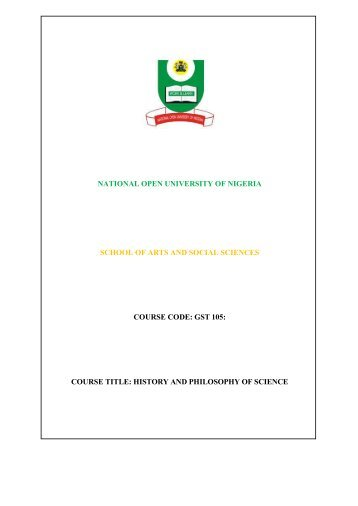 History and Philosophy of Science - National Open University of ...