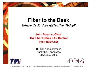 Fiber To The Desk Where Is It Cost - (FOLS).