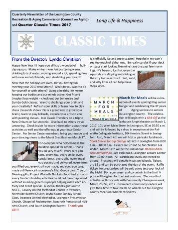 Classic Times Newsletter 1st Quarter 2017