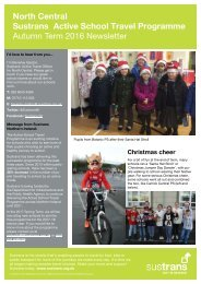 Sustrans Active School Travel Programme Autumn Term 2016 Newsletter