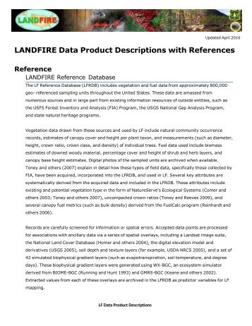 LANDFIRE Data Product Descriptions with References
