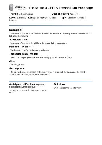 sample celta Celta (certificate in teaching english to speakers of other languages),   valid reasons for absence would include, for example, illness, illness of a close.