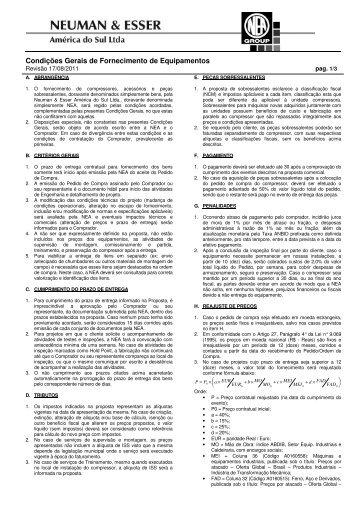 Condições Gerais de Fornecimento de ... - Neuman & Esser