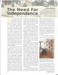 The Need For Independence, By Ron Wickman