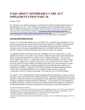 FAQS ABOUT AFFORDABLE CARE ACT IMPLEMENTATION PART 36