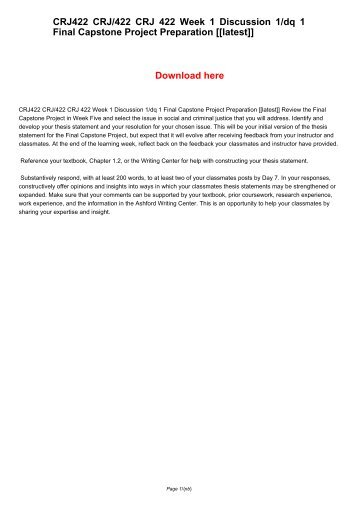 crj 422 criminal justice capstone Crj 422 week 1 dq 1 final capstone project preparation (new) crj 422 week  1 dq 2 criminal justice effectiveness (new) crj 422 week 1 journal article.