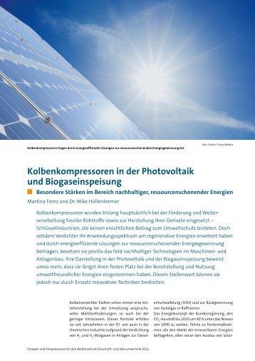 Kolbenkompressoren in der Photovoltaik und ... - Neuman & Esser