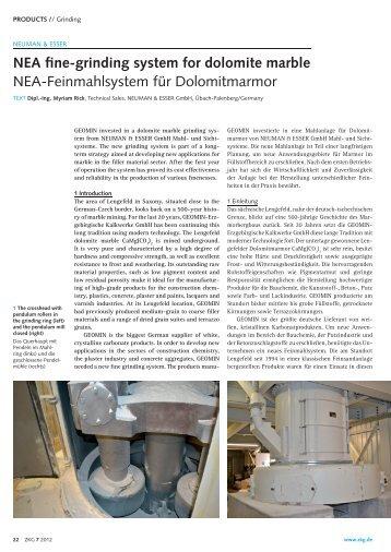 NEA fine-grinding system for dolomite marble - Neuman & Esser
