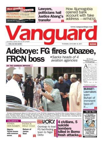 10012017 Adeboye: FG fires Obazee, FRCN boss