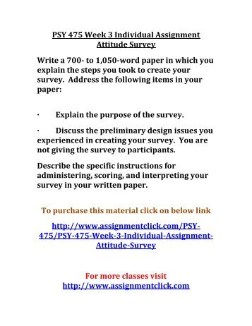 psy 475 week 3 individual assignment Then fill out the university of phoenix material week 2 learning team assignment:  psy 460(version 4) psy 475 psy  bshs 405 week 3 individual assignment.