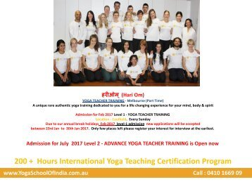 Yoga Teacher Training- Melbourne (Part Time) - YogaSchoolofIndia.com.au
