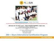 Yoga Teacher Training- Sydney(Part Time) - YogaSchoolofIndia.com.au