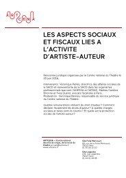 LES ASPECTS SOCIAUX ET FISCAUX LIES A L'ACTIVITE D'ARTISTE-AUTEUR