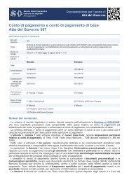 Conto di pagamento e conto di pagamento di base Atto del Governo 367
