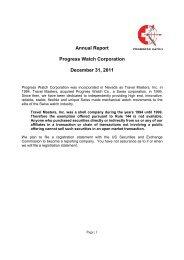 Annual Report Progress Watch Corporation December 31, 2011