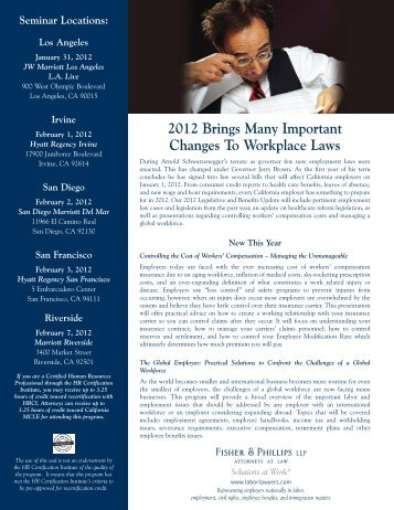 2012 California Employment Law and Benefits Update