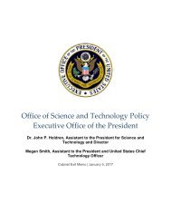 Office of Science and Technology Policy Executive Office of the President