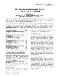 Bills Filed for the 2017 Regular Session of the 85 Texas Legislature