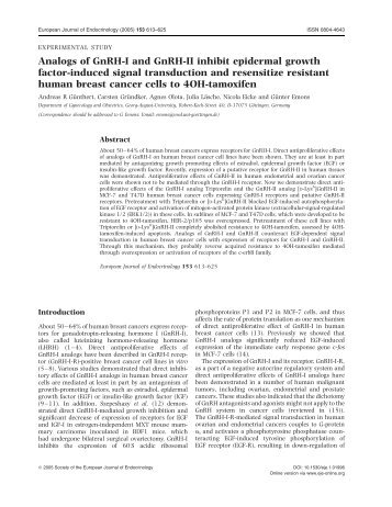 Analogs of GnRH-I and GnRH-II inhibit - European Journal of ...