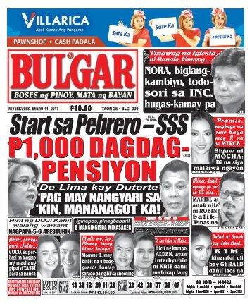 January 11, 2017 BULGAR: BOSES NG PINOY, MATA NG BAYAN