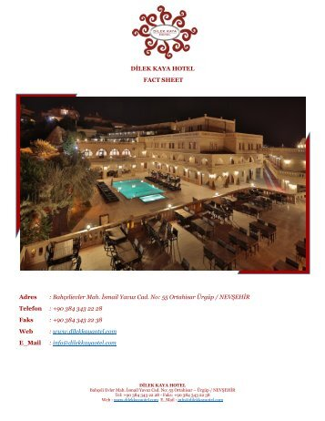 DİLEK KAYA HOTEL Fact Sheet 2016