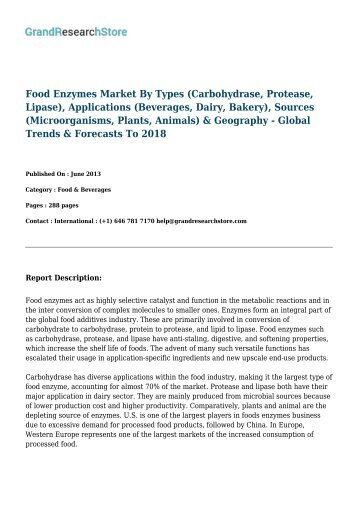 Food Enzymes Market - Global Forecasts to 2021