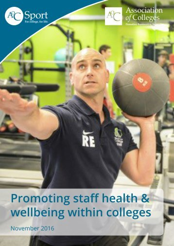 Promoting staff health & wellbeing within colleges