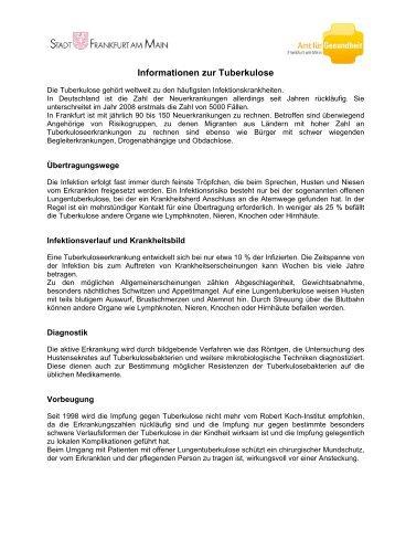 Informationen zur Tuberkulose (pdf, 25 KB) - Frankfurt am Main