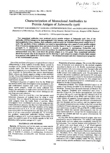 Characterization of Monoclonal Antibodies to Protein Antigen of ...