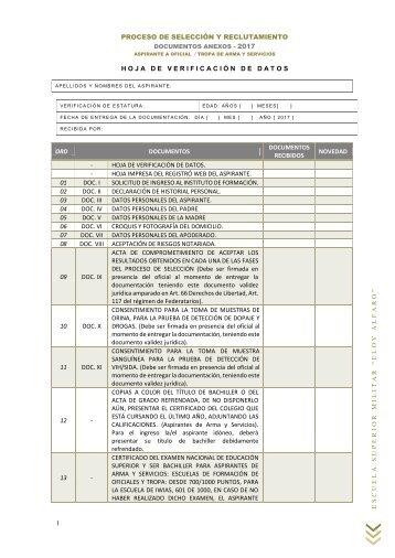 04 Formartos y Anexos - Aspirantes Tropa de Arma y Servicios 2017