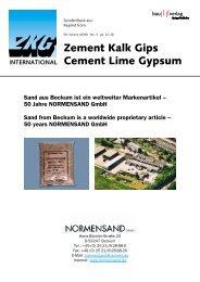 Zement Kalk Gips Cement Lime Gypsum - NORMENSAND GmbH