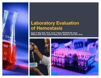 Laboratory Evaluation of Hemostasis - Pathology