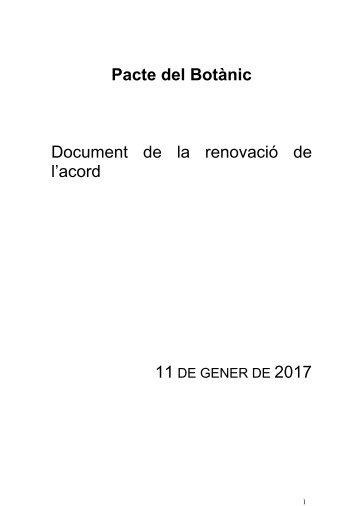 Pacte del Botànic Document de la renovació de l'acord 11 2017