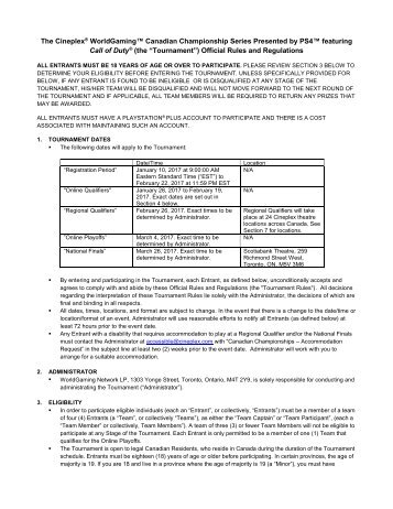 """Call of Duty (the """"Tournament"""") Official Rules and Regulations"""