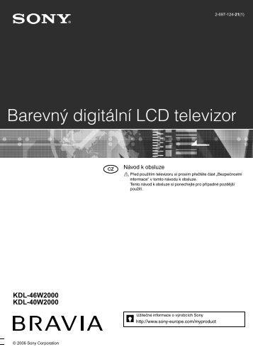 Sony KDL-46W2000 - KDL-46W2000 Istruzioni per l'uso Ceco