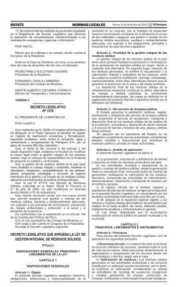 DECRETO LEGISLATIVO Nº 1278 A´PROBACION LEY DE RESIDUOS SÓLIDOS