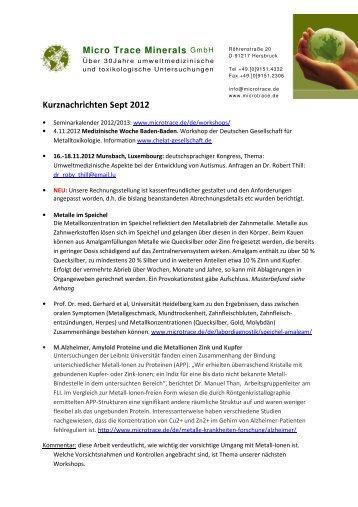Kurznachrichten Sept 2012 - MicroTrace Minerals