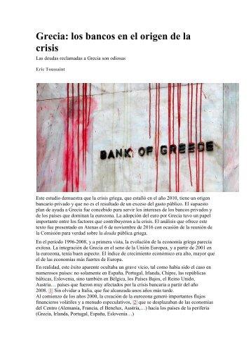 Grecia los bancos en el origen de la crisis