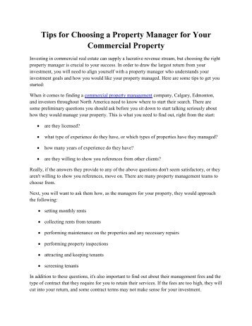 Tips for Choosing a Property Manager for Your Commercial Property