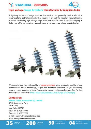 High Voltage Surge Arresters Manufacturer & Suppliers India