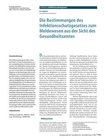 Die Bestimmungen des Infektionsschutzgesetzes zum Meldewesen ...