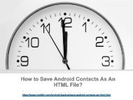 How to Save Android Contacts As An HTML File?
