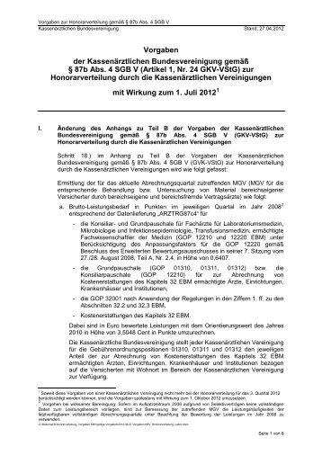 KBV-Vorgaben 27.04.2012 - Kassenärztliche Vereinigung Sachsen