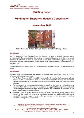Briefing Paper Funding for Supported Housing Consultation November 2016
