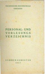 Personal- und Vorlesungsverzeichnis Sommersemester1947