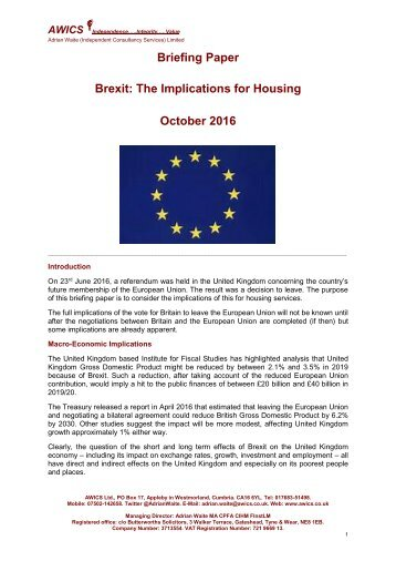 Briefing Paper Brexit The Implications for Housing October 2016