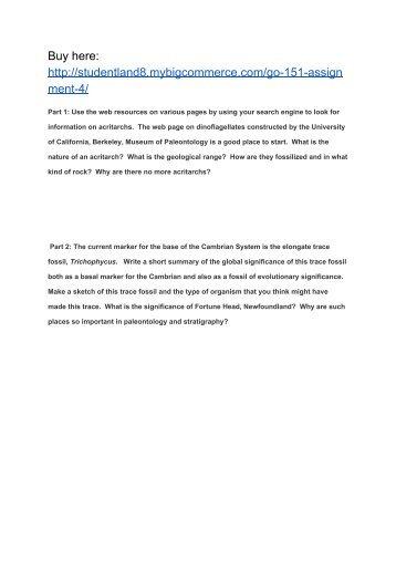 GO 151 Assignment 4