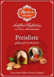 Reber Preisliste 2016