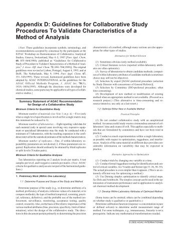 aoac guidelines for single laboratory validation of chemical rh yumpu com AOAC 966.24 AOAC Annual Meeting