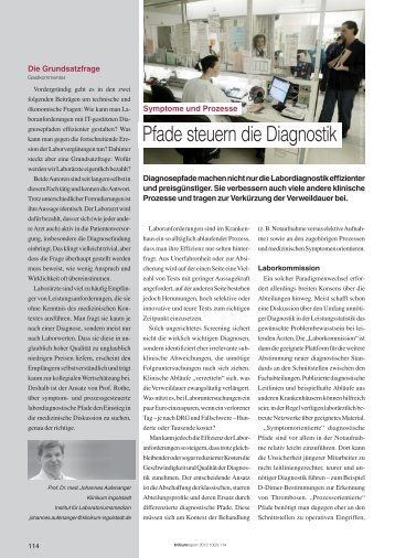 Pfade steuern die Diagnostik - Trillium GmbH